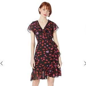 NWT Betsy Johnson lips print wrap dress 10